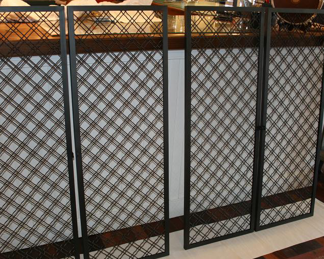 Metal mesh cabinet doors wilmette custom wilmette custom for Metal cabinet doors kitchen